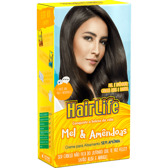 Creme-Alisante-HairLife-Mel---Amendoas-KIT