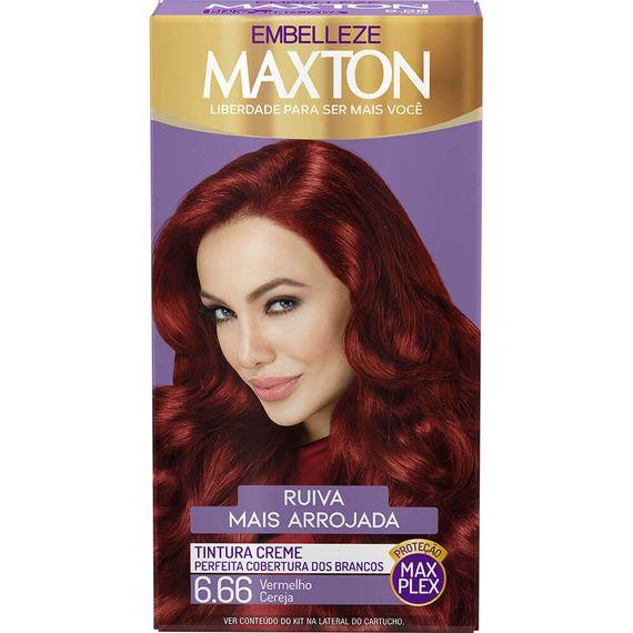 Tintura-para-pintar-cabelos-Maxton-Ruiva-Mais-Arrojada-Vermelho-Cereja-6.66-Kit-Completo