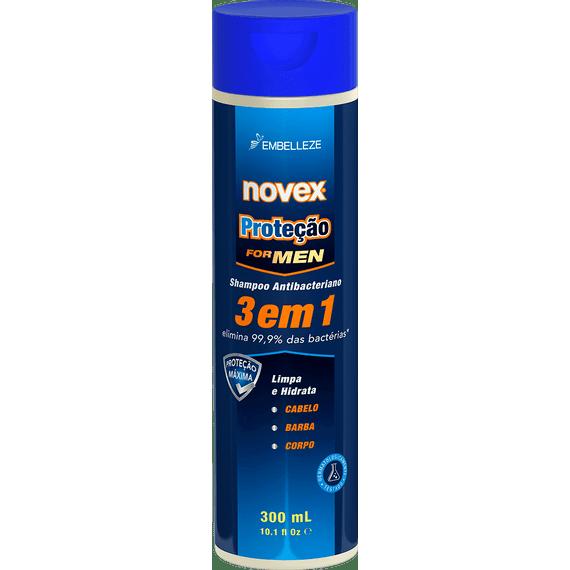 Shampoo-Antibacteriano-Novex-Protecao-For-Men-3-em-1-Cabelo-Barba-Corpo-300ML